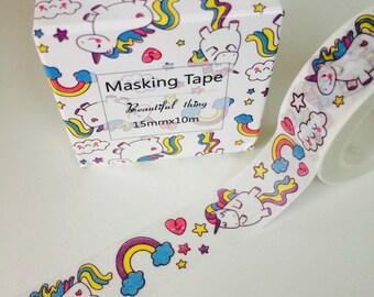 Rainbow Unicorn Washi Tape - Unicorn Theme - Unicorn Gift