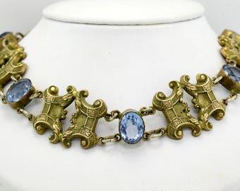 Georgian Gold Filled Blue Paste Repousse Choker