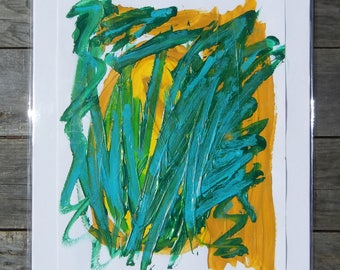 Original abstract acrylic painting on heavy paper, contemporary art, multi-colors, greens & yellows