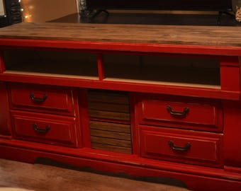Refinished Red Chalk Paint Entertainment Center