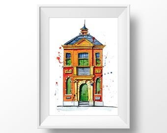 House in Leiden | The Netherlands. Watercolor Urban Sketching illustration. Home wall fine art print.