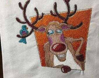 Reindeer with Bird Tea Towel