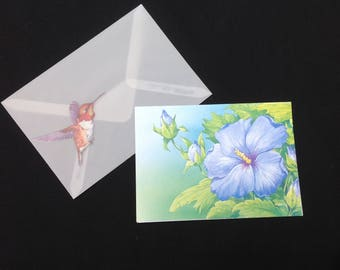Elegant, Vintage Hummingbird Note Card with Translucent Envelope