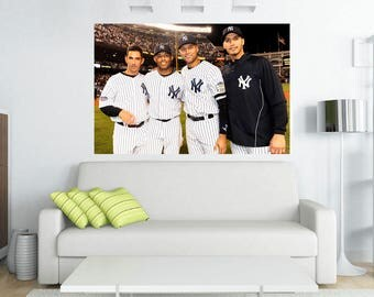 New York Yankees Core Four Jeter Rivera,Posada, Petite Canvas Print 36x24