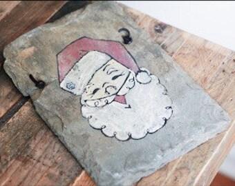 Vintage Hand Painted Santa Claus on SLATE Amazing!