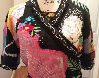 Unique Wearable Art 60s Pullover Sweater / Summer Scene