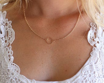 Good Karma Dainty Delicate Gold Necklace Open Circle (AM1003)