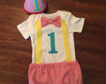 Vintage Clown 1 Year Birthday Outfit