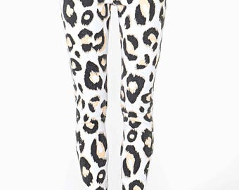 Mink Pink White Animal Kingdom Punk Rock Skinny Jeans Womens Size Medium M Leopard Print