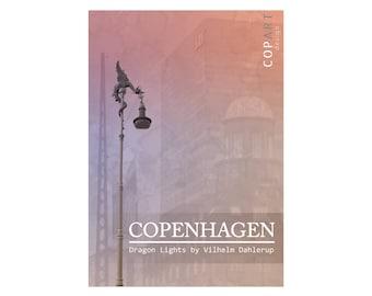 A4 printable wall art, photo, architecture, Copenhagen, Denmark, Scandinavia, Nordic, København, sculpture, dragon, pink, purple, modern art
