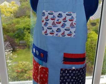The Original Memory Apron for Memory Loss and Dementia - Ships Ahoy! Medium, Pale Blue