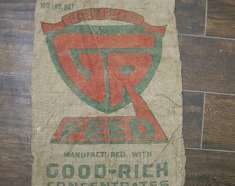 """Vintage Good-Rich Concentrates Burlap Feed Sack Large 38"""" x 21"""" #5"""