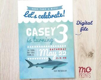 Shark Birthday Invitation - shark theme party - 5x7 invite - printable digital file