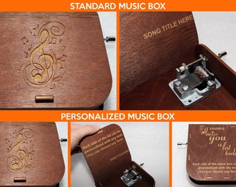 "Engraved Wooden Music Box  ""Kiss The Rain"" #3 - Hand Crank Movement"