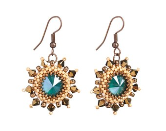 Earrings Kit Arabian Star with Swarovski® Crystals - Green