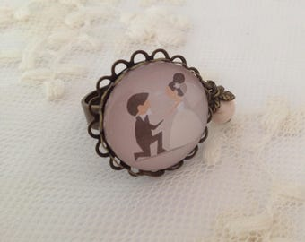 Bride and groom cameo ring.