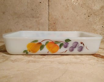 Vintage hand painted Fire King bakeware