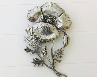 Pewter Poppy Brooch, Silver Poppy Pin, Large Flower Pewter Brooch