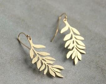 floral earrings / Leafs leaves earrings / brass handmade Bridal jewelry bridal earrings