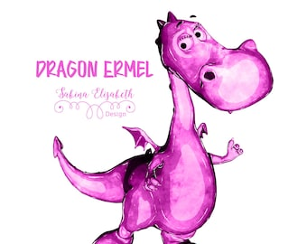 Dragon Ermel 1, pink, Watercolor Clipart, Baby, Child, Fun, Craft