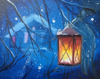 Oil painting. Lamp.