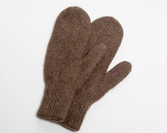 Premium quality yak down adult mittens - earth