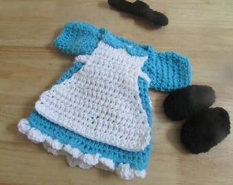 Crochet Baby Alice In Wonderland Photo Prop Dress Set Newborn to 12 Months Custom Orders