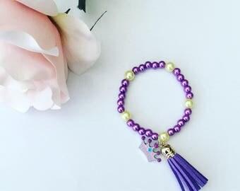 Purple princess charm bracelet