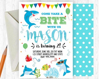Shark invitation Etsy