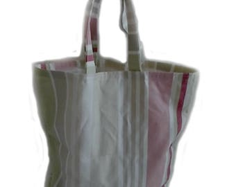 Striped Cotton Canvas Tote, Striped Cotton Canvas Shopping Bag, Striped Forever Bag,