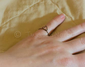 Minimalist heart wire wrapped ring