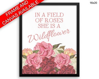 Wildflower Wall Art Framed Wildflower Canvas Print Wildflower Framed Wall Art Wildflower Poster Wildflower Quote Art Wildflower Quote Print