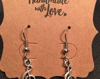 Musical notes dangle earrings