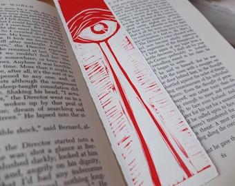 Handmade Bookmark 'Eye of the Beholder' Linocut Print