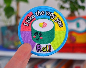 Iron on Patch - 'I like the way you roll' sushi pun patch
