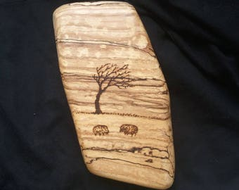 Pyrography - Sheep grazing