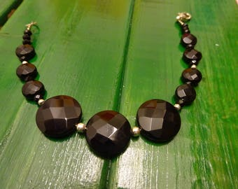Bracelet sterling silver faceted Onyx