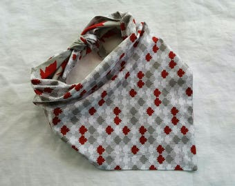 Traditional Tie End Dog Bandana - White/Gray/Red Maple Leaves and Gray/Red Maple Leaves