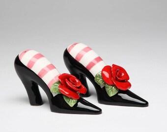 Shoes Salt & Pepper Shaker Set - Black Heels with Red Roses