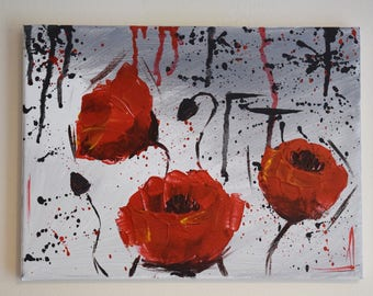 Abstract Poppies // Acrylic original handmade piece
