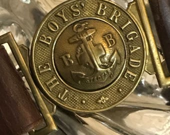 Vintage leather belt, Boys' Brigade brass buckle, Late 1940's, Lovely condition