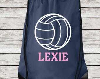 Personalized Volleyball Drawstring Tote, Volleyball Drawstring Bag Personalized with Name
