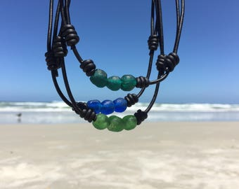 Sea Glass Necklace for Men Leather Glass Necklace Mens Boho Necklace Mens Bohemian Necklace Glass Pendant Sea Glass Jewelry African Glass