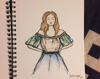 Fashion illustration, whimsical dress