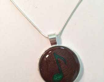 Music Note Inlay wooden pendant necklace