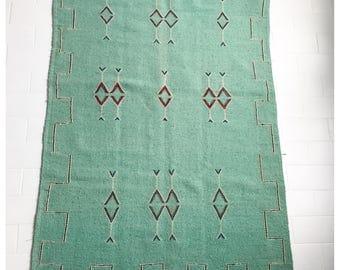 Rug hand woven green celadon 95 x 150 cm