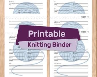 Blue Knitting Binder Printable