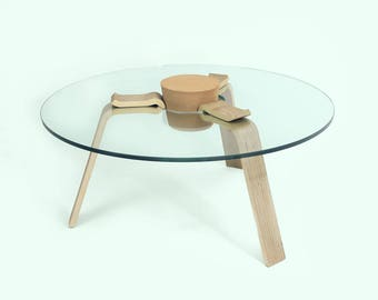 Designer coffee table with XXL Cork - Cork stopper table