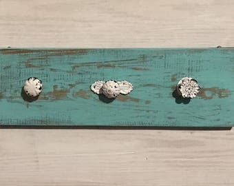 Rustic Teal Coat/Jewelry Rack with White Vintage Knobs
