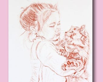 Blood drawing little girl and her cat